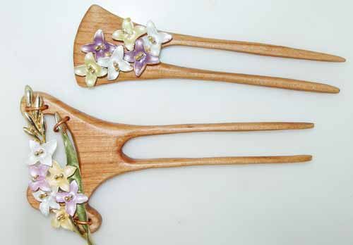 flower floral enamel hair pins sticks forks