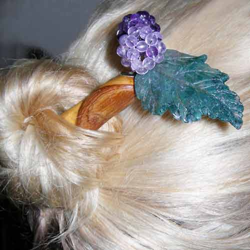 large agate amethyst Geisha hair stick